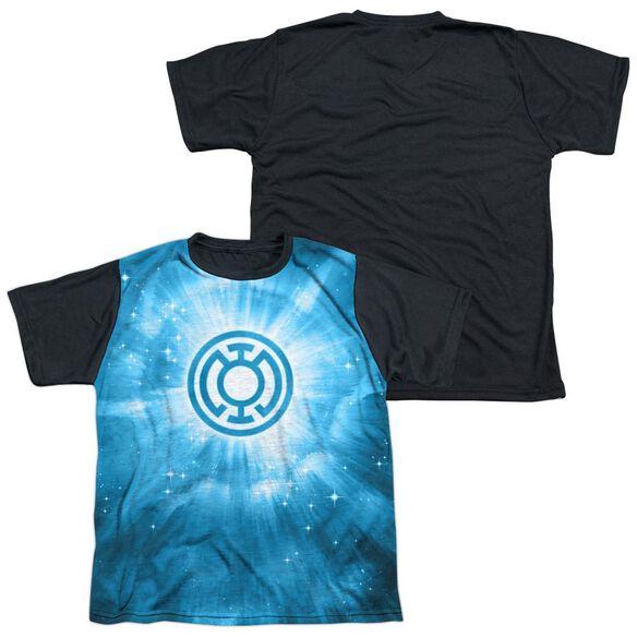 Green Lantern Blue Energy Short Sleeve Youth Front Black Back T-Shirt