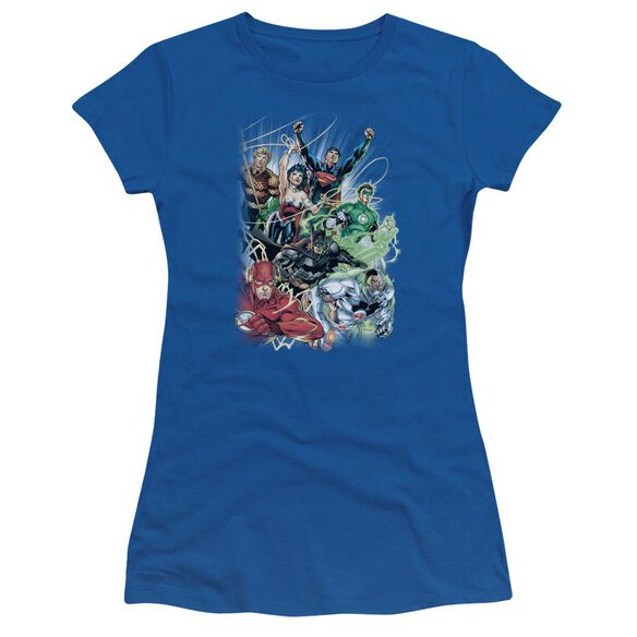 Jla Justice League #1 Short Sleeve Junior Sheer Royal T-Shirt