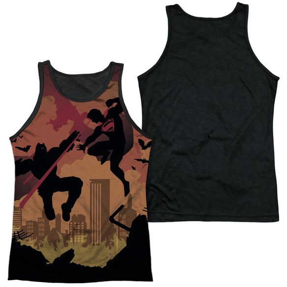 Batman V Superman Silhouette Fight Adult Poly Tank Top Black Back