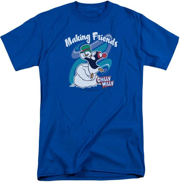 Chilly Willy Making Friends Short Sleeve Adult Tall Royal Royal T-Shirt