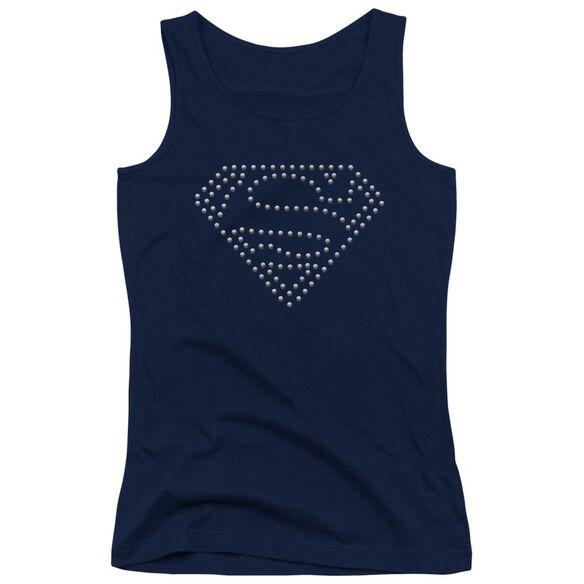 Superman Superman Silver Stud Emblem Juniors Tank Top