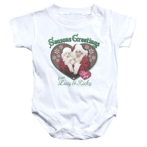 I Love Lucy Seasons Greetings Infant Snapsuit White
