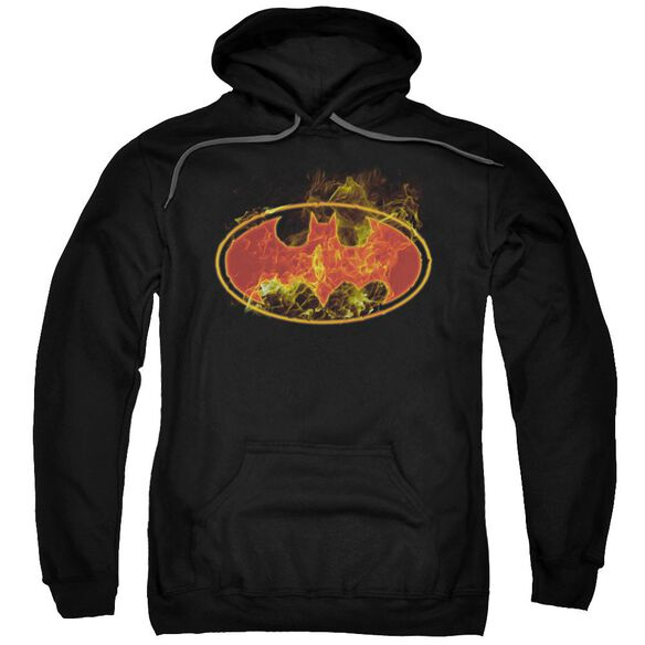 Batman Flames Logo Adult Pull Over Hoodie