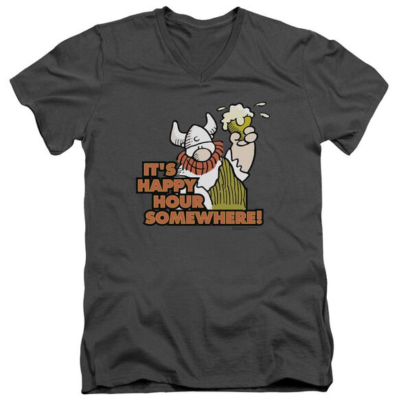 Hagar The Horrible Happy Hour Short Sleeve Adult V Neck T-Shirt