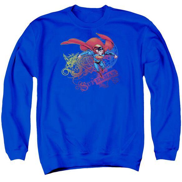 Superman Cool Word Supes Adult Crewneck Sweatshirt Royal