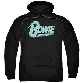 David Bowie Logo Adult Pull Over Hoodie Black
