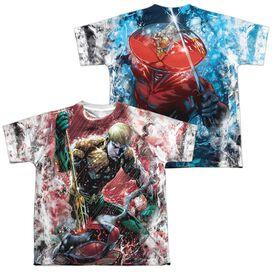 Jla Aquaman Vs Manta (Front Back Print) Short Sleeve Youth Poly Crew T-Shirt