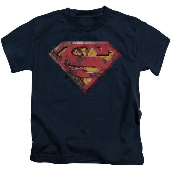 Superman Rusted Shield Short Sleeve Juvenile Navy T-Shirt