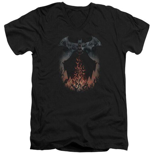 Batman Smoke & Fire Short Sleeve Adult V Neck T-Shirt