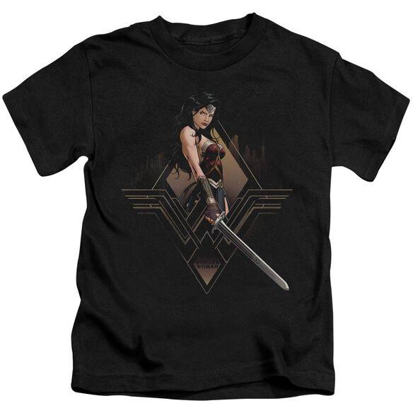 Batman V Superman City Girl Short Sleeve Juvenile Black T-Shirt