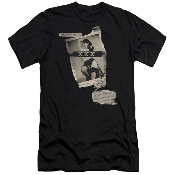 Bettie Page Newspaper & Lace Short Sleeve Adult T-Shirt