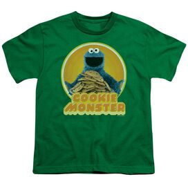 Sesame Street Cookie Iron On Short Sleeve Youth Kelly T-Shirt