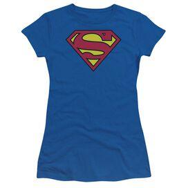 Superman Classic Logo Short Sleeve Junior Sheer Royal T-Shirt