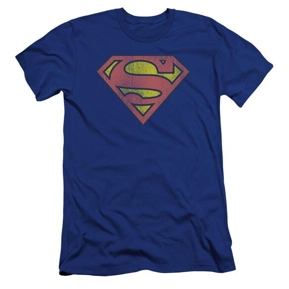 Dc Retro Supes Logo Distressed Premuim Canvas Adult Slim Fit Royal