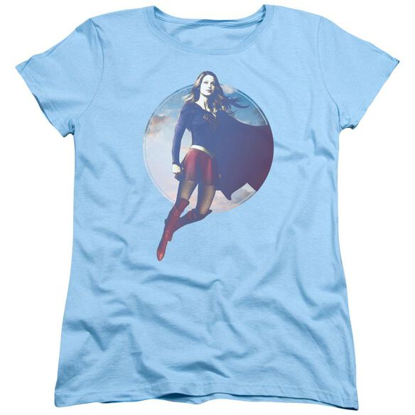 Supergirl Cloudy Circle Short Sleeve Womens Tee Light T-Shirt