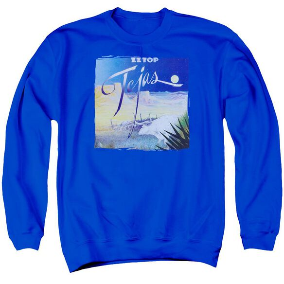Zz Top Tejas Adult Crewneck Sweatshirt Royal