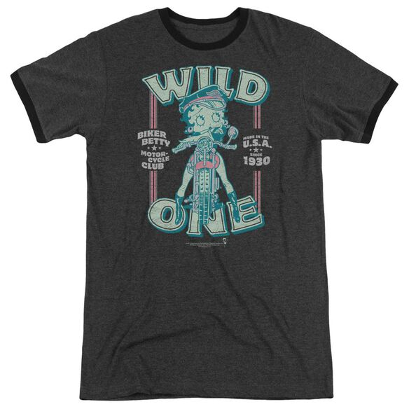 Betty Boop Wild One Adult Heather Ringer Charcoal