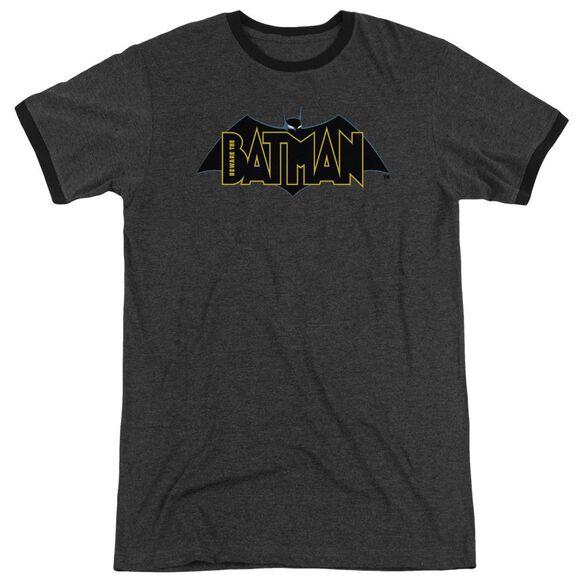 Beware The Batman Logo Adult Heather Ringer Charcoal