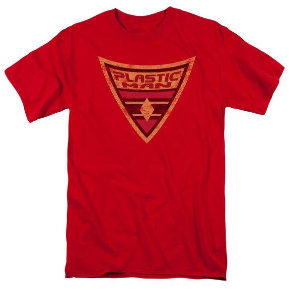 Batman Bb Plastic Man Shield Short Sleeve Adult Red T-Shirt
