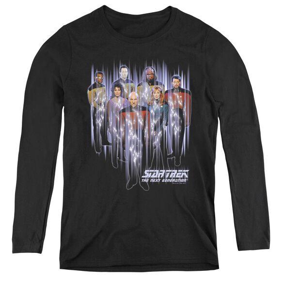 Star Trek Beam Us Up - Womens Long Sleeve Tee - Black