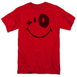 Smiley World Fight Club Short Sleeve Adult Red T-Shirt