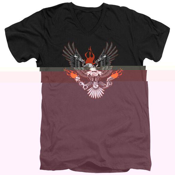 BIKER EAGLE - ADULT V-NECK - BLACK T-Shirt