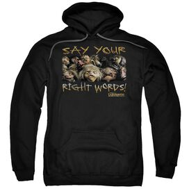 Labyrinth Say Your Right Words Adult Pull Over Hoodie Black