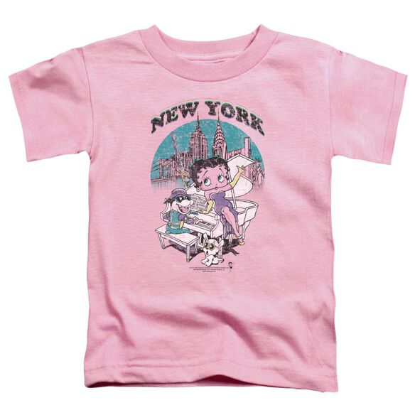 Betty Boop Singing In Ny Short Sleeve Toddler Tee Pink Sm T-Shirt