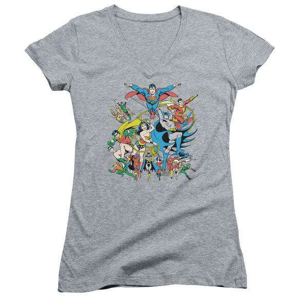 Dc Justice League Assemble Junior V Neck Athletic T-Shirt
