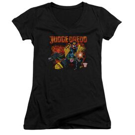 Judge Dredd Through Fire Junior V Neck T-Shirt