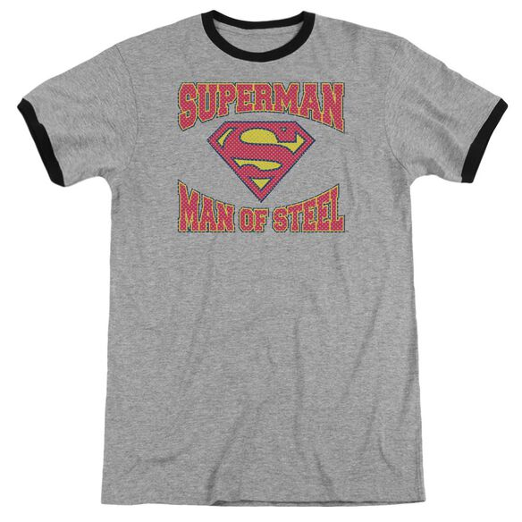 Superman Man Of Steel Jersey - Adult Ringer - Heather/black