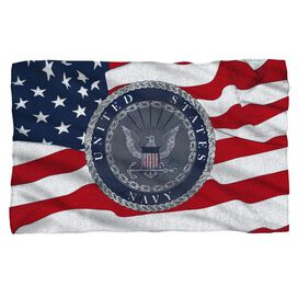 Navy Flag Seal Fleece Blanket