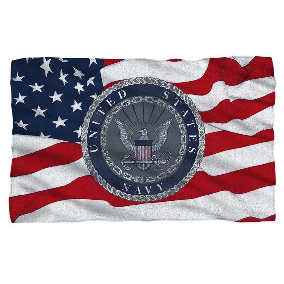 Navy Flag Seal Fleece Blanket