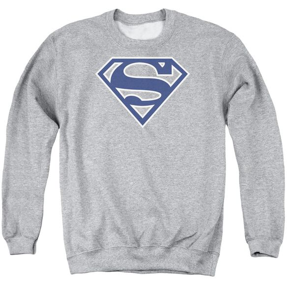 Superman Navy & White Shield - Adult Crewneck Sweatshirt - Athletic Heather