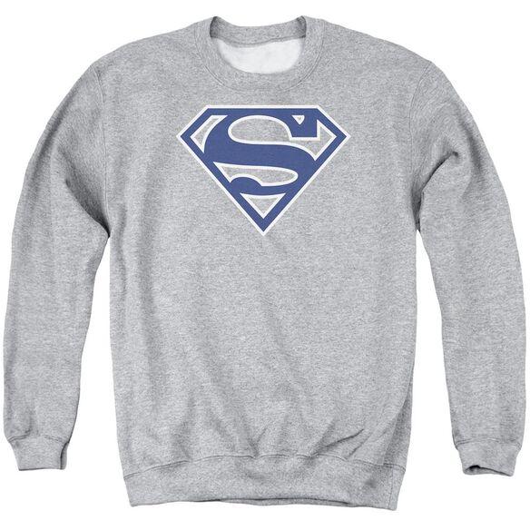 Superman Navy &Amp; White Shield Adult Crewneck Sweatshirt Athletic