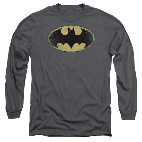 Batman Distressed Shield Long Sleeve Adult T-Shirt