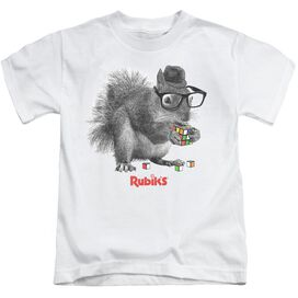 Rubik's Cube Nerd Squirrel Short Sleeve Juvenile White T-Shirt