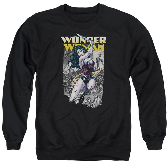 Jla Wonder Slice Adult Crewneck Sweatshirt