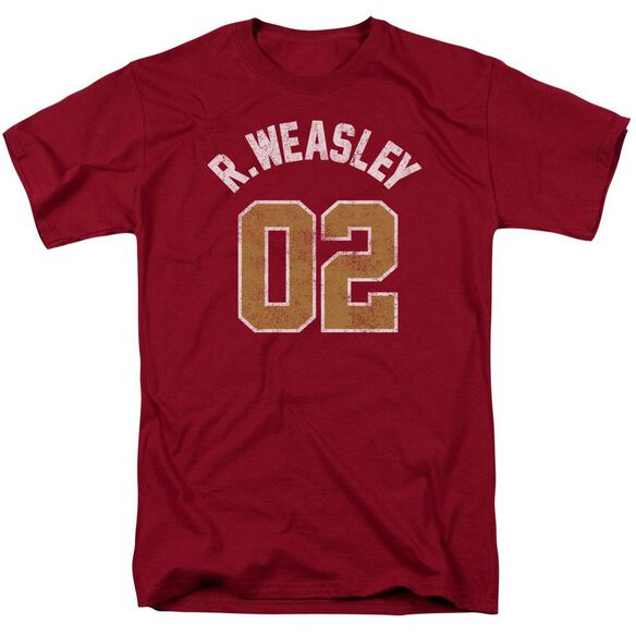 Harry Potter Weasley Jersey Short Sleeve Adult Cardinal T-Shirt