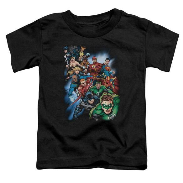 Jla Heroes Unite Short Sleeve Toddler Tee Black Md T-Shirt