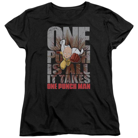 One Punch Man One Punch Is All It Takes Short Sleeve Womens Tee T-Shirt