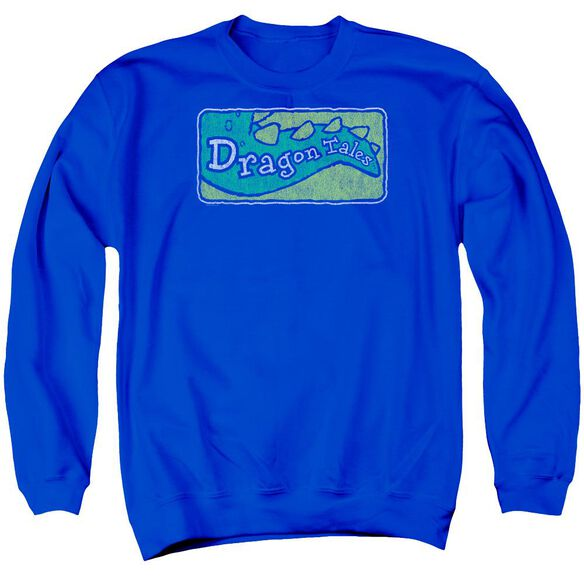 Dragon Tales Logo Distressed Adult Crewneck Sweatshirt Royal