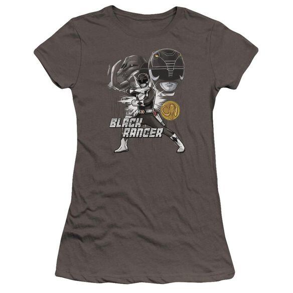 Power Rangers Black Ranger Hbo Short Sleeve Junior Sheer T-Shirt