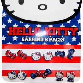 Hello Kitty Americana 6 Pair Stud Earrings Set