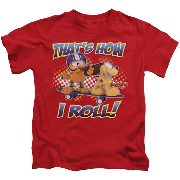 Garfield How I Roll Short Sleeve Juvenile Red T-Shirt