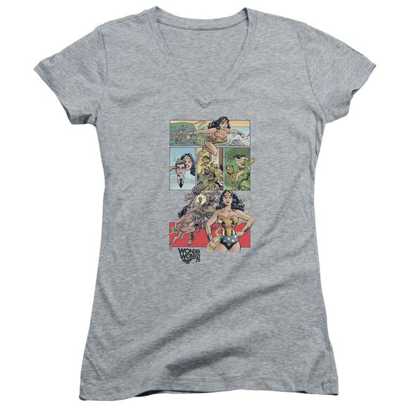 Wonder Woman Ww75 Comic Page Junior V Neck Athletic T-Shirt