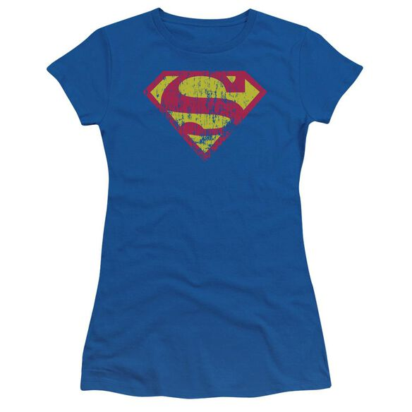 Superman Classic Logo Distressed Short Sleeve Junior Sheer Royal T-Shirt