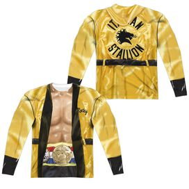 Rocky Yellow Robe (Front Back Print) Long Sleeve Adult Poly Crew T-Shirt