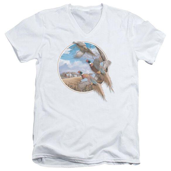 Wildlife October Memories Pheasants Short Sleeve Adult V Neck T-Shirt