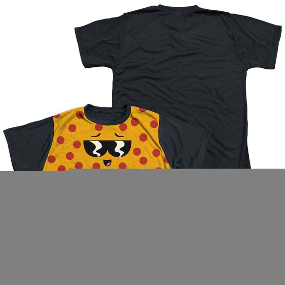 UNCLE GRANDPA PIZZA FACE-S/S YOUTH WHITE FRONT BLACK BACK T-Shirt